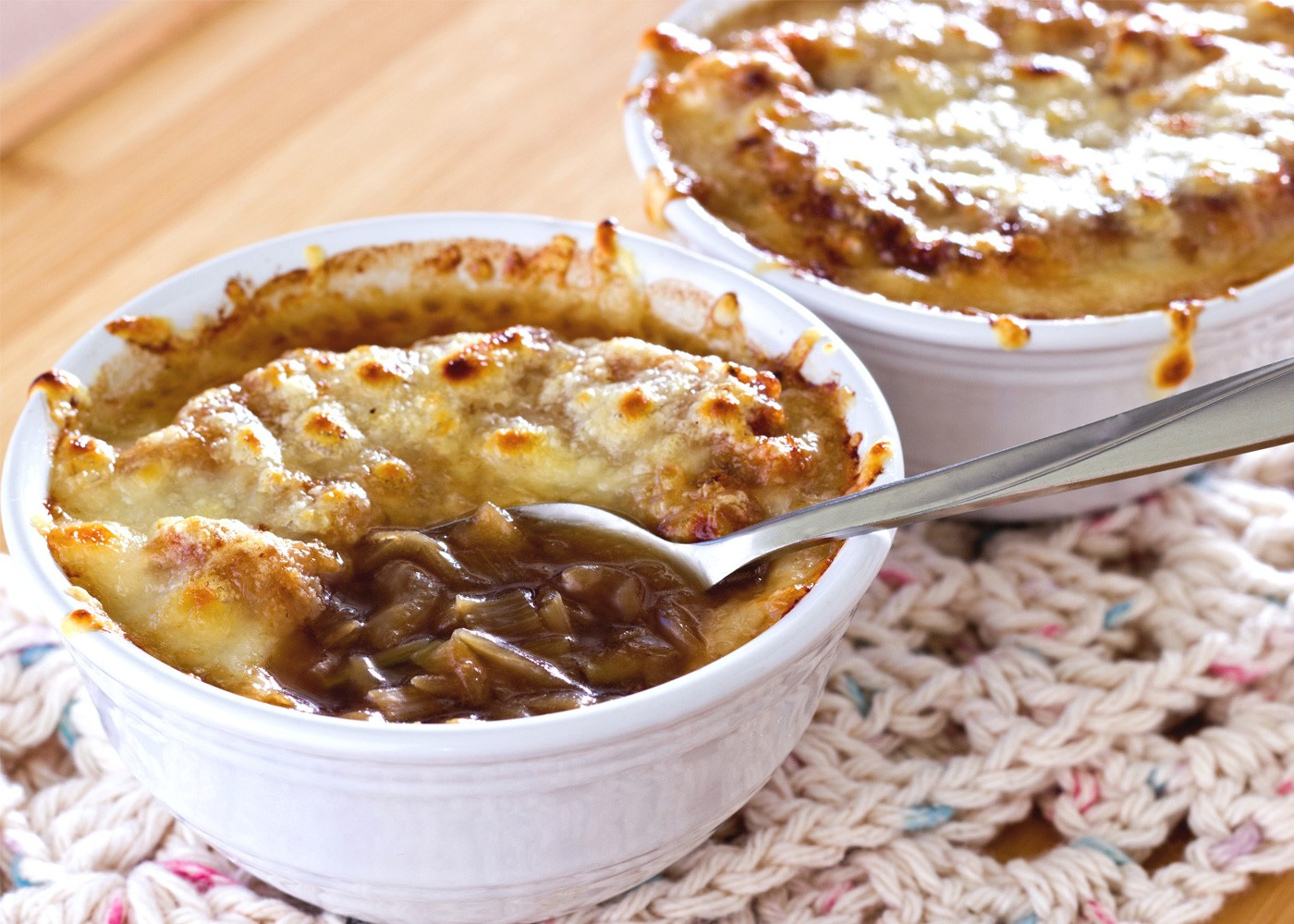 French Leek and Onion Soup with cheese