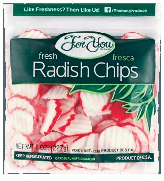 Closeup of For You Radish Chip bag